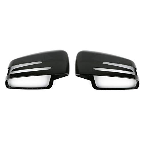 lilili Scheinwerfer Glasabdeckung 1 Paar Auto-Außenspiegel Abdeckkappe Links Rechts Schwarz Sitz Fit for Mercedes Benz W204 C207 W212 W221 Series Auto Rearviewspiegelabdeckung