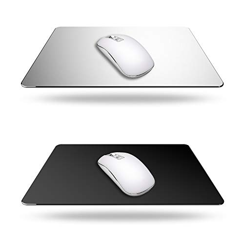 2 Pack Gaming Aluminum Mouse Pad (Silver & Black) Compatible with...