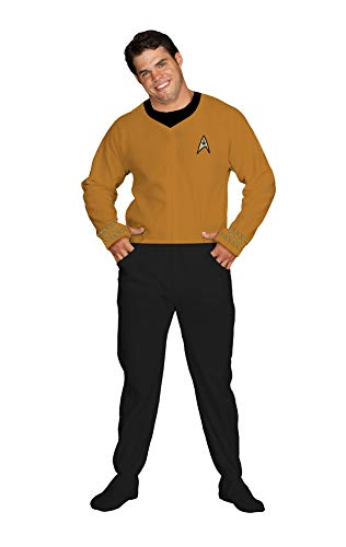 Star Trek Command Gold Footed Onesie Adult Pajamas (Large)
