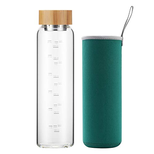 sunkey Glass Water Bottle 32 oz Wide Mouth with Sleeve Bamboo Lid 1 Litre Motivational Water Bottle With Time Marker Reusable Safe for Hot Cold Drinks Bpa Free (Green)