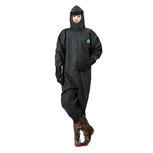 PVC Chest Wader Men Waterproof Full Body Rain Suit with Non-Slip Rubber Boots Rubber Gloves Waders One-Piece Hooded Fishing Suit for Fly Fishing Outdoors