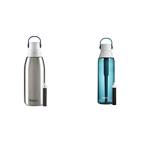 brita bpa free water bottles Brita Water Filter Bottles, 32 oz, Stainless Steel & Premium Filtering Water Bottle, 26 oz, Sea Glass
