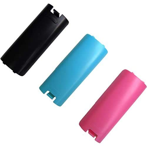 Replacement Battery Cover For Nintendo Wii Remote X 3 (Black, Blue and Pink) by Mars Devices