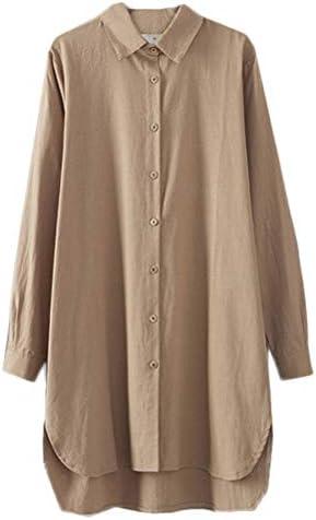 Minibee Women s Long Sleeve Shirts Button Down Blouse Plus Sizes Tunic High Low Tops Khaki product image