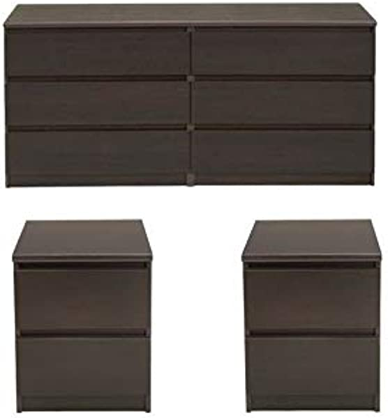 Home Square 3 Piece Set With 6 Drawer Double Dresser And Two 2 Drawer Nightstands In Coffee