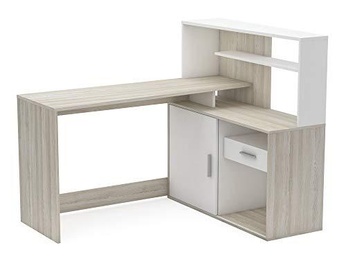 Miroytengo Escritorio Brice con altillo Color Roble y Blanco Oficina despacho Dormitorio Moderno 113x141x108 cm