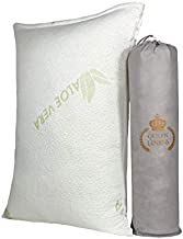 Queen Linens – Queen Size Pillow - Aloe Vera Essence Bamboo Derived Rayon Memory Foam Pillow with Breathable and Washable Zippered Pillowcase – Cooling Pillow for Neck and Upper Body Support.