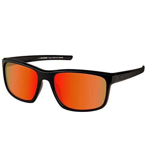 KastKing Toccoa Polarized Sport Sunglasses for Men and Women,Gloss Black Frame,Amber Base Scarlet Mirror