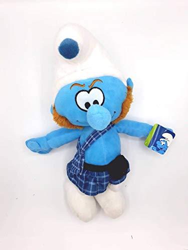 Peluche Los Pitufos - Pitufo Valiente Escocés 38cm Muñeco Peluche Azul TV Smurfs