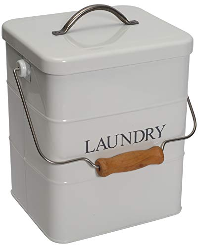 Metal Laundry Powder TinWhite Laundry Powder Storage tin Laundry Powder Detergent Storage Box with Scoop