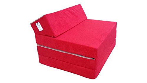 Natalia Spzoo Materasso pieghevole per ospiti 200 x 70 x 10 cm in diversi colori Microfibra (Rosso)