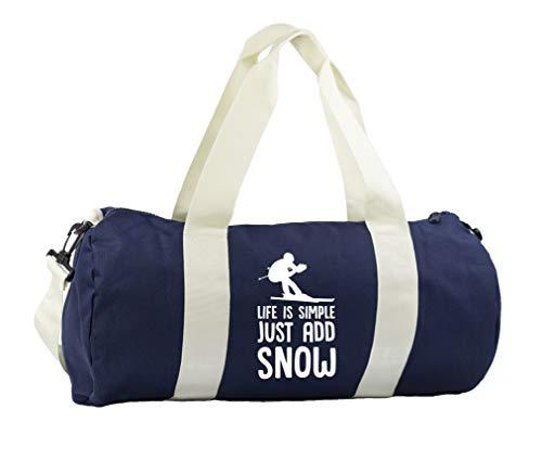 Hippowarehouse Life is simple just add snow ski Gymwear Gym Duffle Cylinder Uniform Kit Bag 50 x 25 x 25cm 20 litres