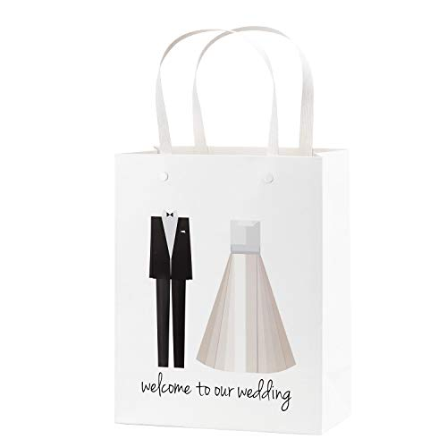 Crisky Welcome to Our Wedding Bags 25 pcs Welcome Wedding Bags for Hotel Guests, 10