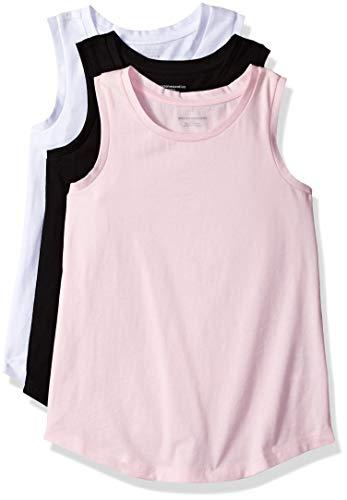 Amazon Essentials Girls' 3-Pack Tank Camiseta, Bright White/Black Beauty/Cherry Blossom, S