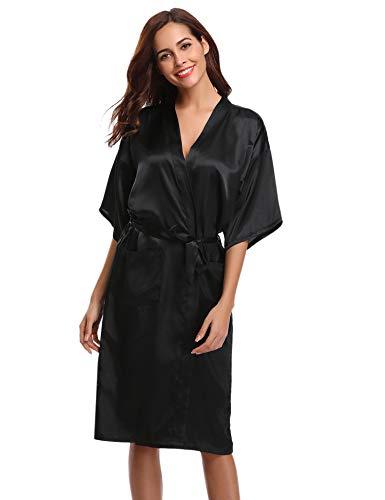 Aibrou Damen Satin Morgenmantel Kimono Lang Bademantel Schlafanzug Negligee Nachthemd Nachtwäsche Unterwäsche V Ausschnitt Mit Gürtel (Schwarz-1, Medium)