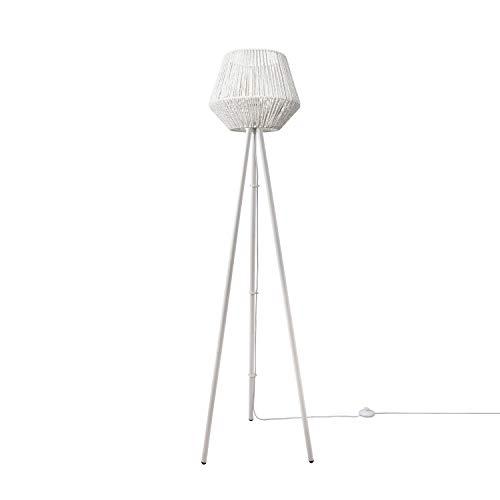 Paco Home Lámpara LED De Pie Moderna Salón Dormitorio Ratán Diseño Bohemio Mimbre E27, Base de la lámpara:Tres Patas Blanco, Pantalla de lámpara:Blanco (Ø33 cm)