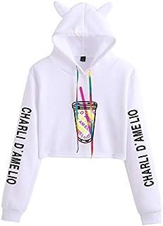 The Hype House Hoodie Sweatshirts Women Charli D'Amelio Print Hoodie Cat Ear Turtleneck Short Sweatshirts