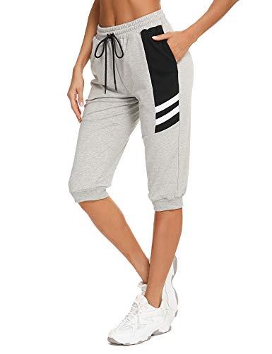 Sykooria 3/4 Pantalon Chándal Mujer Verano Algodón Corto Pantalon Deportivo para Mujer Pantalones Deporte Mujer para Yoga Fitness Jogger Entrenamiento con Bolsillos, Gris, L