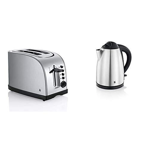WMF Stelio Toaster Edelstahl, Doppelschlitz-Toaster mit Brötchenaufsatz, 980 W & BUENO Wasserkocher, 1,7 l, 2400 W, schnurlos, beleuchtete Wasserstandsanzeige, Kalk-Wasserfilter, cromargan matt/silber