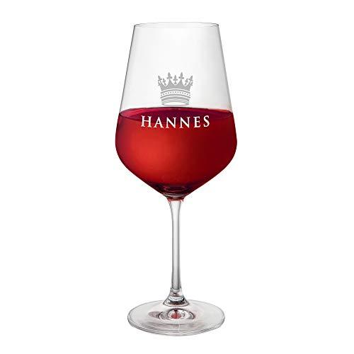 AMAVEL Rotweinglas mit Gravur und Kronen-Motiv, Personalisiert mit Namen, Echtglas, Füllmenge: ca. 500 ml