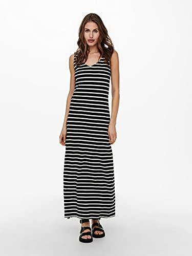 Only ONLMAY Life S/L V-Neck Dress JRS Vestido, Negro/Rayas: Cloud Dancer, M para Mujer