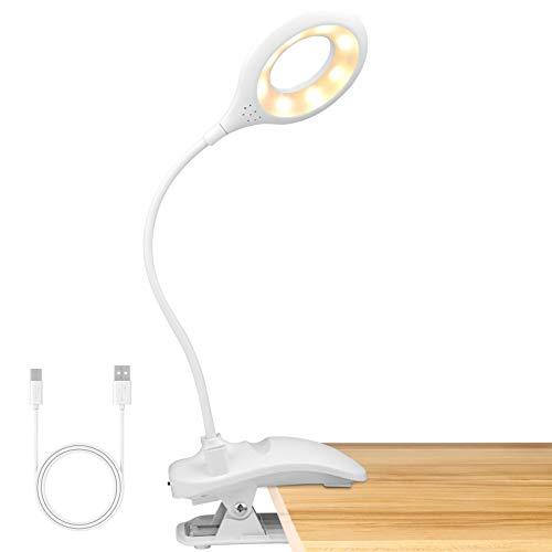 Leselampe Buch Klemme, VPOW 16 LED klemmlampe bett, Buchlampen USB Wiederaufladbar, 3 Farb und 3 Helligkeitsstufen Dimmbar klemmlampe, 360°Flexibel Leseleuchten Bett Batteriebetrieben