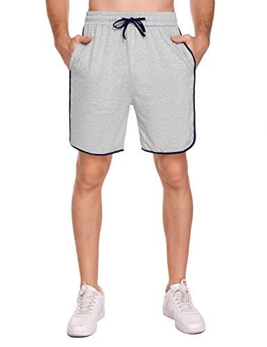 Akalnny Pantaloncini Sportivi Uomo Pantaloni Tuta Uomo Sportivi in Cotone Shorts con Tasca e Coulisse per Jogging