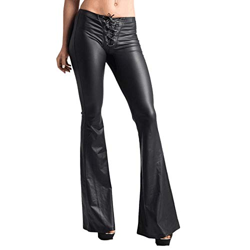 Femmes Sexy Dentelle Faux en Cuir Jambières, Élastique Évasé Pantalons,Abdomen Serré Leggings Coupe Slim,Sexy Mode Pantalon Long,Hot Mode Pantalons PANPANY