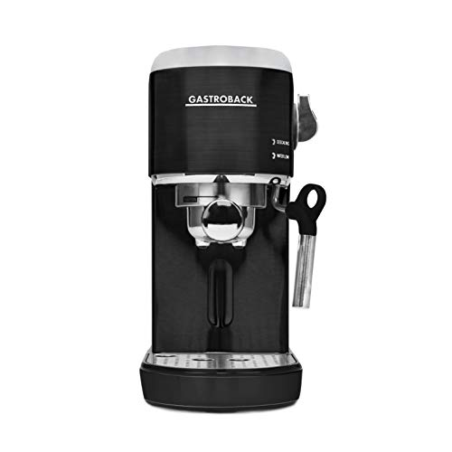 GASTROBACK #42718 Design Espresso Piccolo, Espressomaschine mit Milchaufschäumdüse, 19 bar Pumpendruck, schnelles Aufheizen (40 Sekunden), schwarz