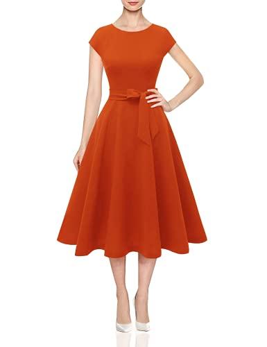 DRESSTELLS Midi 1950er Vintage Retro Rockabilly Kleid Damen elegant Hochzeit Cocktailkleid Orange S