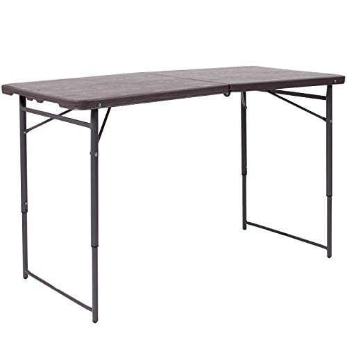Flash Furniture 4-Foot Height Adjustable Bi-Fold Brown Wood Grain Plastic Folding Table with Carrying Handle