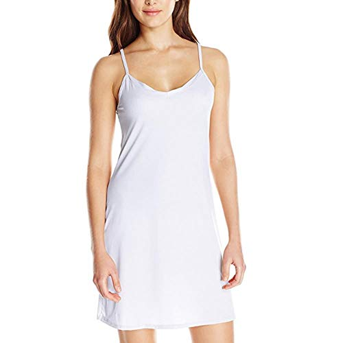 ROUSEHUI Fond de Robe Lingerie Femme Jupon sous Robe Bretelles Slip Chemises de Nuit Sexy Longue Pyjama sans Manche Elégant Mini Droite Robe(Blanc, Taille 38 FR)