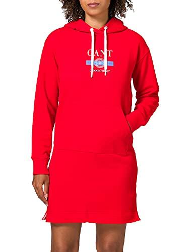 Gant D1. Nautical Hoodie Dress Vestido, Rojo Lava, XXL para Mujer