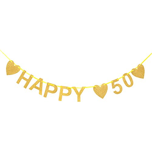 Oblique Unique® Happy 50 Girlande - Gold Glitzernd - Geburtstag Goldene Hochzeit Jubiläum Dekoration