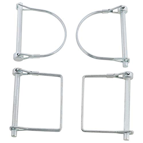 E-outstanding Snap Pin 2PCS 1/4 Inch Diameter Heavy Duty Round Wire Shaft Locking Pin and 2PCS 1/4 Inch Diameter Heavy Duty Square Shapes Wire Shaft Lock Pin Trailer Coupler Pin