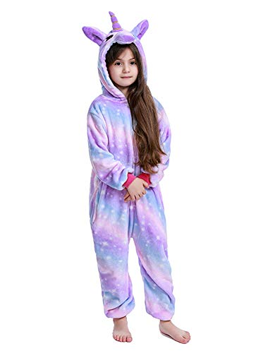 "Kids Unicorn onesie Animal Pajamas Halloween Cosplay Costume Gift (95# Suit Height 42""-45"", Bright Purple Galaxy)"