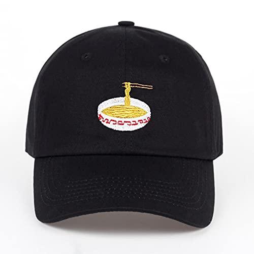 gorra Gorras Beisbol Gorra de béisbol de algodón con bordado de fideos instantáneos ajustables, gorra de béisbol unisex, sombreros casuales para papá, gorra Snapback para niña, gorra de hueso,Black