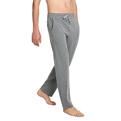 MaaMgic Pantaloni Sportivi Uomo Pantaloni Lunghi Transpiranti con Tasche e Vita a Coulisse per Yoga, Palestra, Allenamento, Grigio Melange Chiaro, L