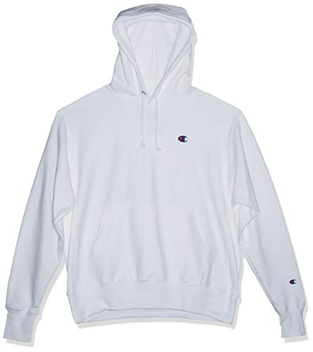 Champion LIFE Men's Reverse Weave Pullover Hoodie, White/Left Chest C Logo, Large