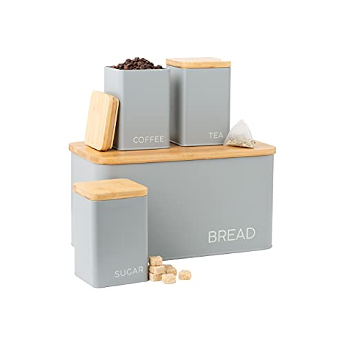 EHC Set of 4 Tea, Coffee, Sugar and Bread Storage Container Set With Bamboo...