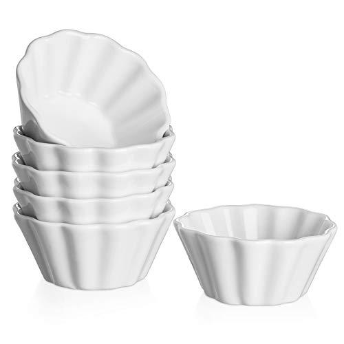 DOWAN Creme Brulee Ramekins 6 Oz Oven Safe, Porcelain Souffle Custard Cups Dishwasher Safe and Microwave Safe, Flower-Shaped Condiments Cups, Set of 6, White