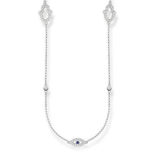 Thomas Sabo Damen-Kette mit Anhänger Glam & Soul Collier 925 Silber Zirkonia transparent Onyx 90 cm - KE1387-412-32-L90v