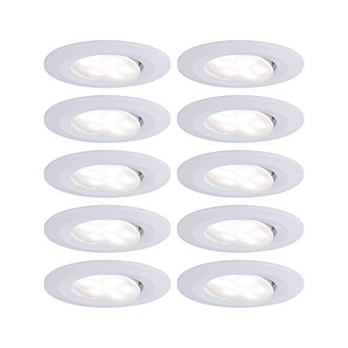 Paulmann 99922 LED Einbauleuchte Calla rund incl. 10x6 Watt IP65 Einbaustrahler Weiß matt Schranklicht Kunststoff Einbaulampe 4000 K