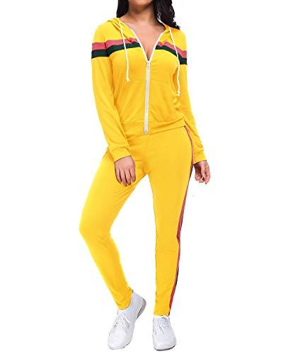 Top-Vigor Damen Freizeitanzug Sportanzug Jogginganzug Sportjacke Jacke mit Reißverschluss Sporthose Hose mit Tunnelzug