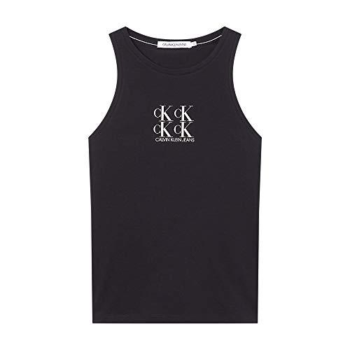 Calvin Klein Jeans Shine Logo Racer Back Top Cuello extendido, CK Negro, M para Mujer