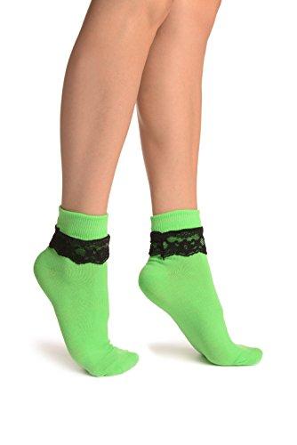 LissKiss Green With Black Lace Trim Ankle High Socks - Grün Socken Einheitsgroesse (37-42)