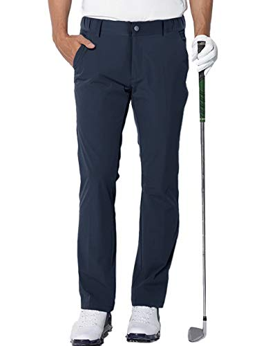 Photo of aoli ray Mens Golf Trousers Waterproof Slim Fit Lightweight Stretch Outdoor Pants Navy Medium