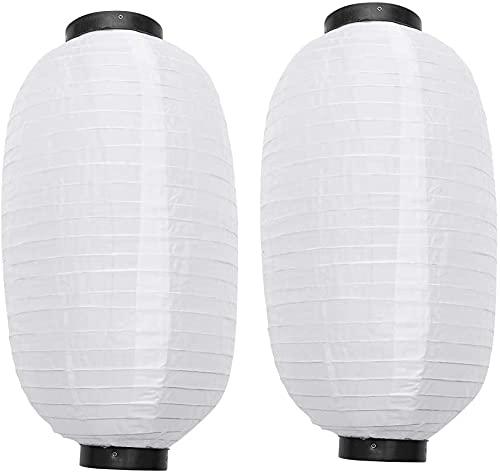 2 piezas de linterna de seda japonesa tradicional asiática AOOF al aire libre blanca linterna china luz plegable DIY decoración sushi cumpleaños boda fiesta vacaciones lámpara impermeable