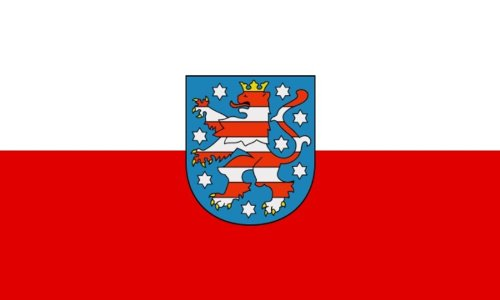 Qualitäts Fahne Flagge Thüringen 90 x 150 cm mit verstärktem Hissband