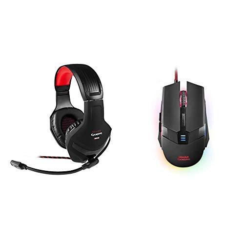 Mars Gaming MH2, Cascos Gaming, 1, Negro Y Rojo + MM116, Ratón Gaming para PC (3200 dpi, RGB Flow, 6 Botones, Ambidiestro), USB, Negro